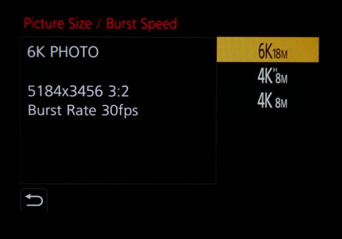 Panasonic 6K photo mode